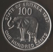 ERITREA 100 CENTS 1997 KM# 48 ANIMAL African Elephant - Erythrée