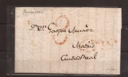 1842 Prefilatelia Carta A Ciudad Real Desde Soria - España