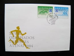 Cover Lithuania Olympic Games 2004 Athens Greece Special Cancel Fdc Horse Sport Rowing Canoe - Lituania