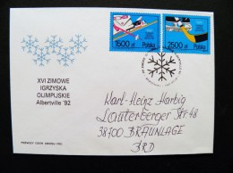 Cover Poland Olympic Games 1992 Albertville Special Cancel Fdc Ice Hockey Slalom - 1944-.... République