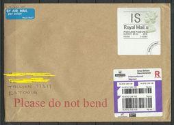 GREAT BRITAIN 2017 Registered Cover To Estonia Queen Elizabeth Label - 1952-.... (Elizabeth II)