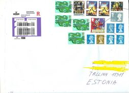 GREAT BRITAIN 2017 Registered Cover To Estonia Stamps Cancelled By Hand/pencil - 1952-.... (Elizabeth II)
