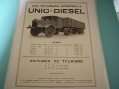 ANCIENNE PUBLICITE CAMION UNIC DIESEL 1933 - Camions