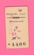 Tiket Biglietto Corsa Autobus Brussel Caal Melsbroek 1959 Belgique - Europe