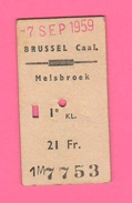 Tiket Biglietto Corsa Autobus Brussel Caal Melsbroek 1959 Belgique - Europa