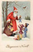 Belle Carte Illustrée . Père Noël . Neige, Jouets . Enfants - Kerstman