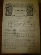 1906  LES GIRONDINS,mus. Fernand Le Borne,paroles Delormel-Berel;CHANSON POPULAIRE ROMANDE De Dalcroze;MAZURKA ,Borodine - Partitions Musicales Anciennes