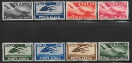 Italy Scott #C106-13 Mint Hinged Plane, Swallows, 1945-7 - Poste Aérienne