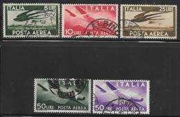 Italy Scott #C109-10,C112-4 Used Plane, Swallows, 1945-7 - Poste Aérienne