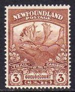 Newfoundland 1919 Newfoundland Contingent 3c Brown Guedecourt, Hinged Mint, SG 132 - Newfoundland