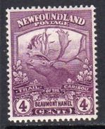 Newfoundland 1919 Newfoundland Contingent 4c Mauve Beaumont Hamel, Hinged Mint, SG 133 - 1908-1947