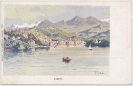 Lugano - Künstlerkarte J. Weber - Mit WErbung Auf Der Rückseite - Apotheker Rich. Brandts Schweizer Pillen - Ungelaufen - TI Tessin