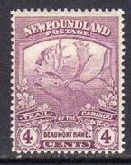 Newfoundland 1919 Newfoundland Contingent 4c Purple Beaumont Hamel, Hinged Mint, SG 133a - 1908-1947