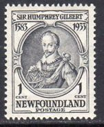 Newfoundland 1933 350th Anniversary Of Annexation 1c Sir Humphrey Gilbert, Hinged Mint, SG 236 - 1908-1947