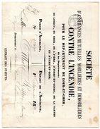 France Contrat D'assurance Contre L'incendie De Septembre 1870 Loir Et Cher - France