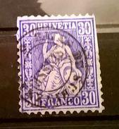FRANCOBOLLI STAMPS SVIZZERA SWISS 1867 HELVETIA BLU DI PRUSSIA CON ANNULLO SPECIALE - Used Stamps