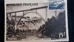 CPSM VIADUC DE GARABIT CANTAL A 15 KM DE ST FLOUR SOUTE SANG ET OR CARTE MAXIMUM TIMBRE 15F - Unclassified