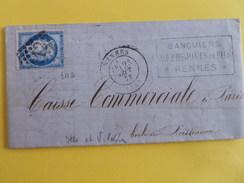 CERES DENTELE 60 SUR LETTRE DE RENNES A PARIS DU 23 SEPTEMBRE 1873 (GROS CHIFFRE 3112) - 1849-1876: Classic Period
