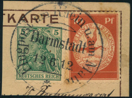 """1912, Flugpost Rhein-Main 10 Pfg. Mit 5 Pfg. Germania Auf Kartenausschnitt  """"""""Darmstadt 12.6.12"""""""" - Zeppelins"""