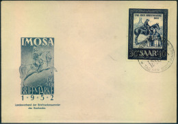 """1952, 30 Fr. """"""""Tag Der Briefmarke"""""""" Auf Ersttagsbrief Mit IMOSA Sonderstempel. - Sin Clasificación"""