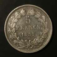 FRANCE 5 FRANCS 1837 LUIS FELIPE W - SILVER - France