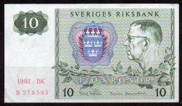 496-Suède Billet De 10 Kronor 1981 BK B278 - Suède