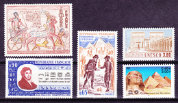 FRANCE 1972 To 2001 Egypt Archeology, 5 Stamps (Ramses, Gyzeh Pyramids, Abu-Simbel Champollion...) MNH Luxe - Archaeology