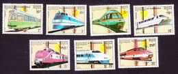 Cambodia, Scott #929-935, Mint Hinged, Trains, Issued 1898 - Cambodia