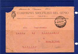 POSTAL HISTORY - Libia -Tripoli 22-6-1927 -  Busta Da Tripoli A Livorno Con Cent. 60 Serie Sibilla Isolato +targhetta - Libia