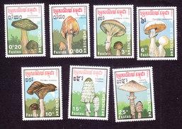 Cambodia, Scott #970-976, Mint Hinged, Mushrooms, Issued 1989 - Cambodge