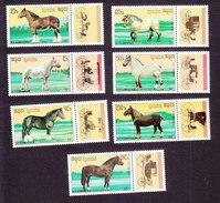 Cambodia, Scott #977-983, Mint Hinged, Horses, Issued 1989 - Cambodge