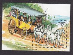 Cambodia, Scott #984, Mint Hinged, Horses, Issued 1989 - Cambodge