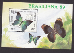 Cambodia, Scott #1004, Mint Hinged, Butterflies, Issued 1989 - Cambodia
