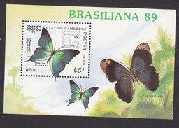 Cambodia, Scott #1004, Mint Hinged, Butterflies, Issued 1989 - Cambodja