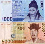 2 BILLETS  COREE DU SUD   *1000 WON *5000 WON - Corée Du Sud