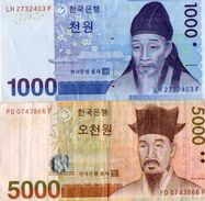 2 BILLETS  COREE DU SUD   *1000 WON *5000 WON - Korea, South