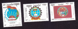 Cambodia, Scott #1008-1010, Mint Hinged, Nat'l Organizations, Issued 1990 - Cambodge