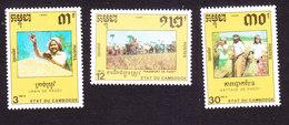 Cambodia, Scott #1027-1029, Mint Hinged, Rice, Issued 1990 - Cambodja