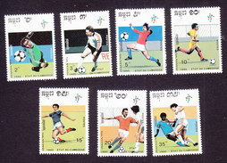 Cambodia, Scott #1011-1017, Mint Hinged, Soccer, Issued 1990 - Cambodge