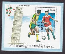 Cambodia, Scott #1018, Mint Hinged, Soccer, Issued 1990 - Cambodia