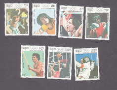 Cambodia, Scott #1038-1044, Mint Hinged, Summer Olympics, Issued 1990 - Cambodge