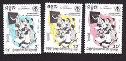 Cambodia, Scott #1077-1079, Mint Hinged, Int'l Literacy Year, Issued 1990 - Cambodia