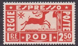 Italy-Colonies And Territories-Aegean General Issue-Rodi Special Delivery Stamp S2 1936 Deer,lire 2,50 Orange MH - Italy