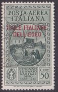 Italy-Colonies And Territories-Aegean General Issue-Rodi A14 1932 Air Mail Garibaldi 50c Green Gray Used - Italy
