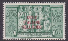 Italy-Colonies And Territories-Aegean General Issue-Rodi A 48 1938 Air Mail Augustus 50c Green MH - Italy