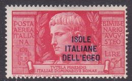 Italy-Colonies And Territories-Aegean General Issue-Rodi A51 1938 Air Mail Augustus 5 Lira+1 Lila Red MH - Italy
