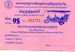 TICKET TRANSPORT TUK-TUK Phnom Penh  Cambodge - Titres De Transport