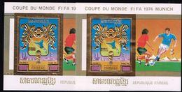 Khmer.Khmere.1974 World Cup.Soccer.Football.Fussball.2 S/S A+B.Gold.MNH.** - Copa Mundial