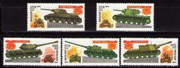 USSR Russia 1984 World War II Tanks WW2 TANK Military Militaria Transport Motor Stamps MNH Michel 5347-5351 Sc 5217-21 - Trucks