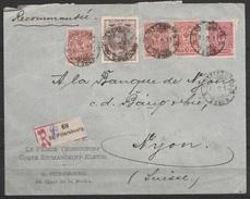 """Russie - L. Entête 'Prince Youssoupoff' Recom. Affr. 20k Càd """"SAINT-PETERSBOURG/1913"""" Pour Banque à NYON (Suisse) - 1857-1916 Imperium"""